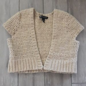 INC  gold crocheted capped sleeve sweaterlette